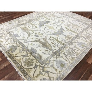FineRugCollection Oushak Beige/Blue Wool Hand-knotted Rug (8'2 x 9'8)