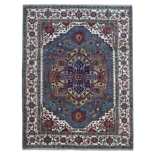 FineRugCollection Serapi Blue and Beige Wool Oriental Handmade Rug (7'10 x 10'8)