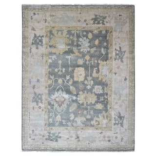 FineRugCollection Hand-knotted Oushak Blue/Grey/Beige Wool Oriental Rug (9'3 x 12'1)