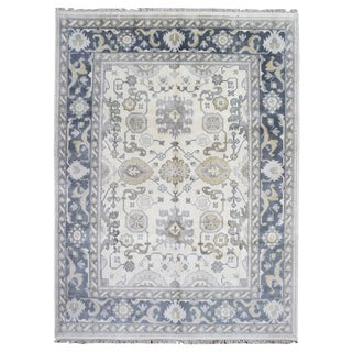 FineRugCollection Oushak Beige/Blue/Grey Wool Handmade Rug (9' x 11'9)