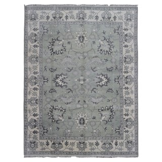 FineRugCollection Grey/Beige Wool Hand-knotted Oushak Oriental Rug (9'1 x 11'8)