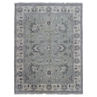 FineRugCollection Sage and Grey Wool Hand-knotted Oushak Oriental Rug (9'1 x 11'8)