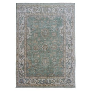 FineRugCollection Beige/Green/Multi Wool Handmade Oushak Oriental Rug (8'11 x 12')