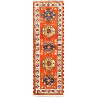 eCarpetGallery Hand Royal Kazak Orange Hand-knotted Wool/Cotton Rug (2' x 8')