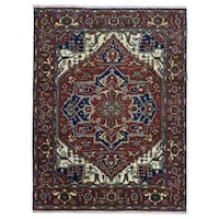 FineRugCollection Red/ Navy/ Beige Wool Geometric-pattern Hand-knotted Serapi Rug (9' x 11'10)