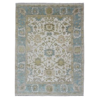 FineRugCollection Oushak Blue/Beige Wool Handwoven Rug (8'10 x 11'10)