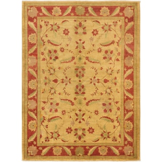 eCarpetGallery Chobi Yellow Wool and Cotton Hand-knotted Oriental Area Rug (8'4 x 11'2)