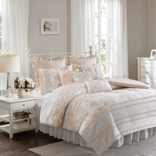 Madison Park Harmony Coral Cotton Percale Duvet Set