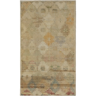 eCarpetGallery Anatolian Sunwash Blue/Ivory Hand-knotted Wool/Cotton Rug (4' x 7')