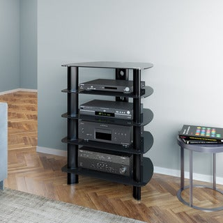 CorLiving Laguna Satin Black Component Media Stand
