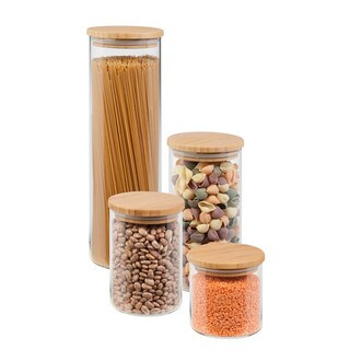 Honey-Can-Do 4 Piece Bamboo Jar Storage Set