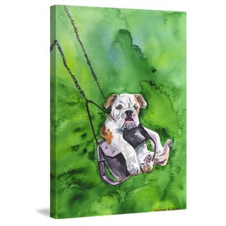 Marmont Hill - 'American Bulldog Puppy' by George Dyachenko Painting Print on Wrapped Canvas