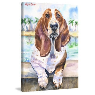 Marmont Hill - 'Basset 3' by George Dyachenko Painting Print on Wrapped Canvas