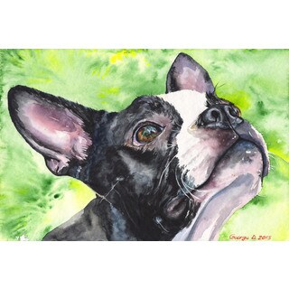 Marmont Hill - 'Boston Terrier' by George Dyachenko Painting Print on Wrapped Canvas
