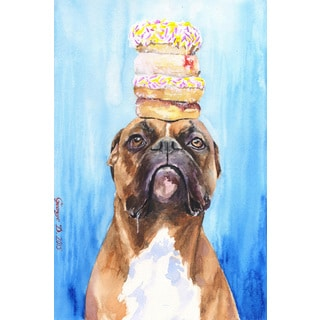 Marmont Hill - 'Boxer and Donuts' by George Dyachenko Painting Print on Wrapped Canvas