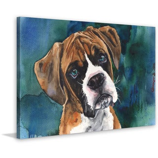 Marmont Hill - 'Boxer Puppy' by George Dyachenko Painting Print on Wrapped Canvas
