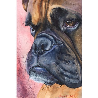 Marmont Hill - 'Boxer Portrait' by George Dyachenko Painting Print on Wrapped Canvas