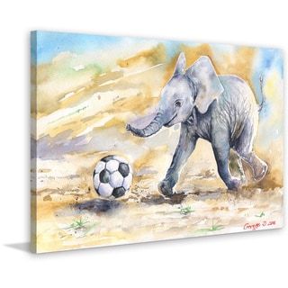 Marmont Hill - 'Elephant Baby's Ball' by George Dyachenko Painting Print on Wrapped Canvas