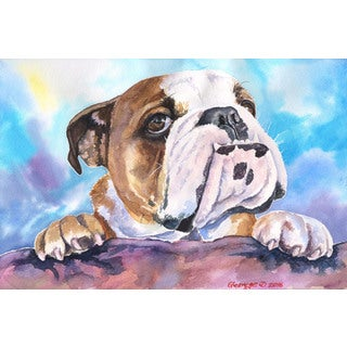 Marmont Hill - 'English Bulldog 3' by George Dyachenko Painting Print on Wrapped Canvas