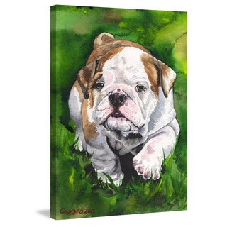 Marmont Hill - 'English Bulldog Puppy' by George Dyachenko Painting Print on Wrapped Canvas