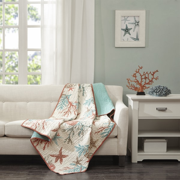Madison Park Pacific Coral Grove Oversized Cotton Quilted Throw