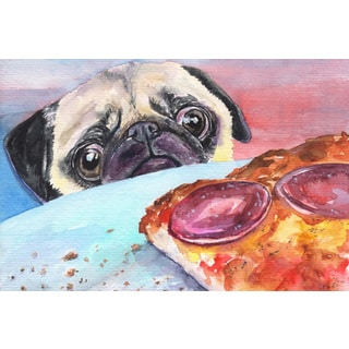 Marmont Hill - 'Pug and Pizza' by George Dyachenko Painting Print on Wrapped Canvas
