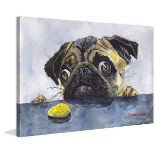 Marmont Hill - 'Pug and Cookie' by George Dyachenko Painting Print on Wrapped Canvas