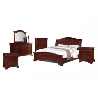 Gracewood Hollow Bujalski Cherry King Panel 6-piece Bedroom Set