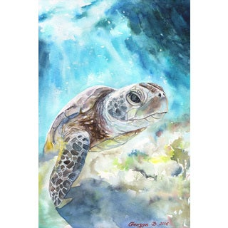 Marmont Hill - 'Sea Turtle' by George Dyachenko Painting Print on Wrapped Canvas