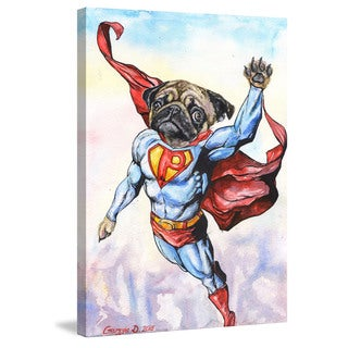 Marmont Hill - 'Superpug' by George Dyachenko Painting Print on Wrapped Canvas