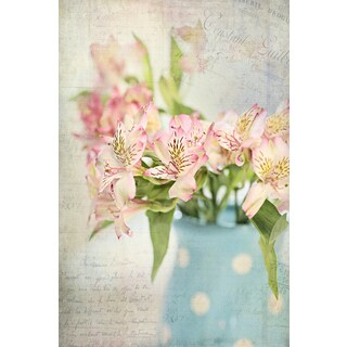 Marmont Hill - 'Alstroemeria Still Life' by Sylvia Cook Painting Print on Wrapped Canvas