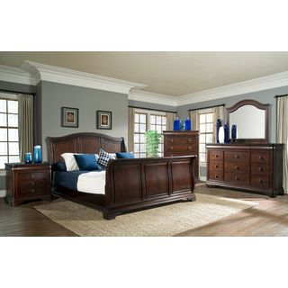 Gracewood Hollow Bujalski Cherry King Sleigh 3-piece Bedroom Set