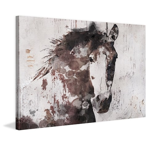 Marmont Hill - Handmade Gorgeous Horse Print on Wrapped Canvas Brown