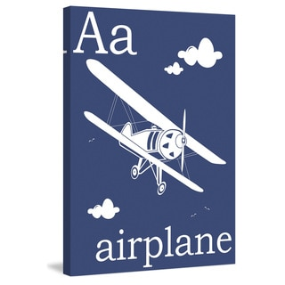Marmont Hill - 'A for Airplane' by Karen Zukowski Painting Print on Wrapped Canvas