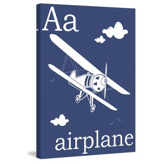 Marmont Hill - 'A for Airplane' by Karen Zukowski Painting Print on Wrapped Canvas - Multi-color (More options available)