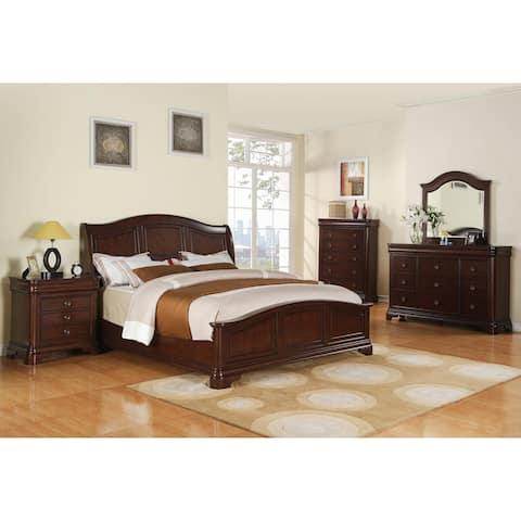 Gracewood Hollow Bujalski Cherry Queen Panel 3-piece Bedroom Set