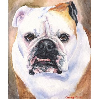 Marmont Hill - 'English Bulldog 1' by George Dyachenko Painting Print on Wrapped Canvas