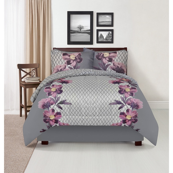Ophelia Purple Reversible 4-piece Comforter Set