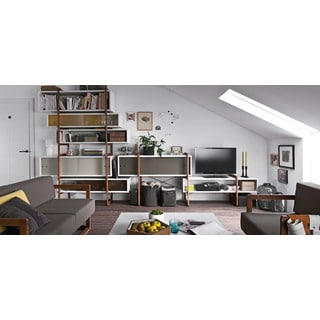 Voelkel Mio Collection White Wood Bookcase with TV Console Extension