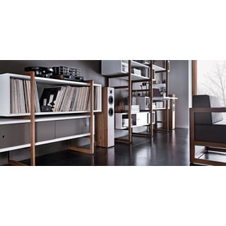 Voelkel Mio Collection Cabinet with Two Box Shelves on Ladder Style Beech Frame