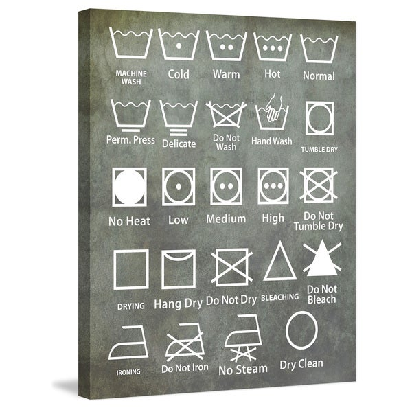 Marmont Hill - 'Laundry Symbols' by Diana Alcala Painting Print on Wrapped Canvas - Multi-color