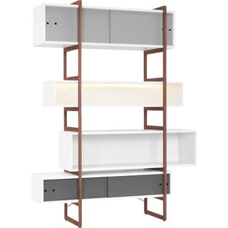 Voelkel Mio Collection 4 Decorative Box Shelf Bookcase on Tall Ladder Style Beech Frame