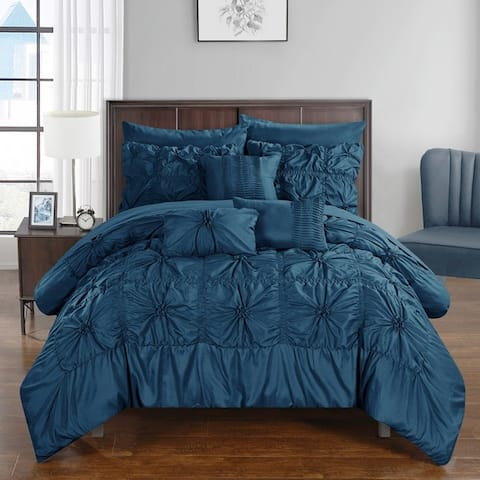 Chic Home 10-Piece Grantfield Bed-In-A-Bag Navy Comforter Set