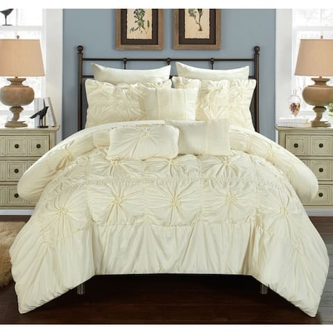 Chic Home 10-Piece Grantfield Bed-In-A-Bag Beige Comforter Set