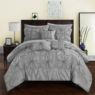 Chic Home 10-Piece Grantfield Bed-In-A-Bag Grey Comforter Set