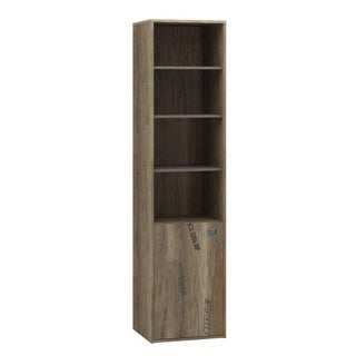 Voelkel Voyager Collection Grey Wood Narrow Bookcase