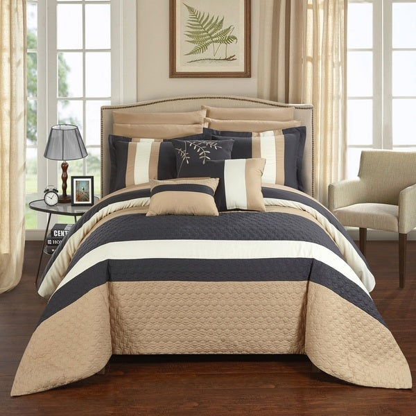 Chic Home 10-Piece Jared Bed-In-A-Bag Grey Comforter Set