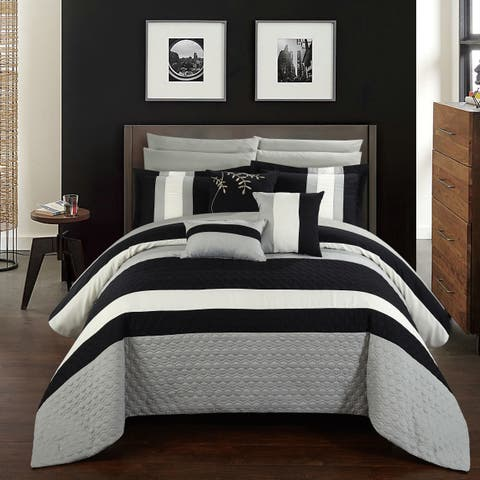 Chic Home 10-Piece Jared Bed-In-A-Bag Black Comforter Set