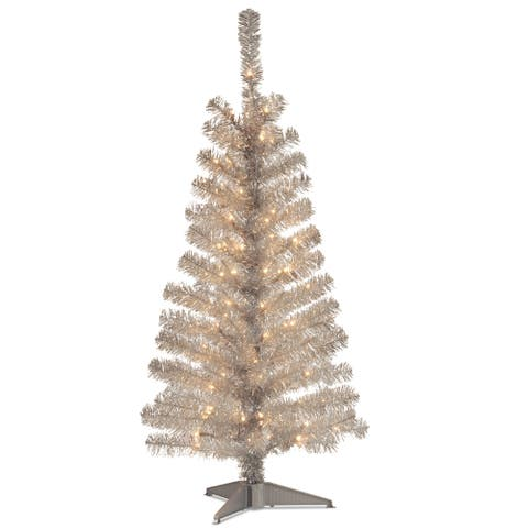 National Tree Company 4' Silver Decorative Tinsel Christmas Tree with Plastic Stand and Clear Lights