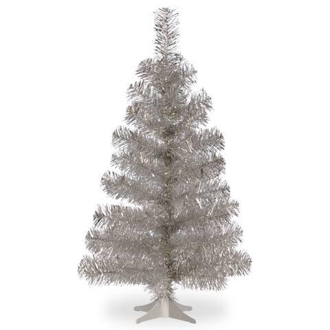 Silver 3-foot Tinsel Tree